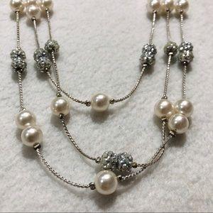 RMN white pearl rhinestone layers strand necklace